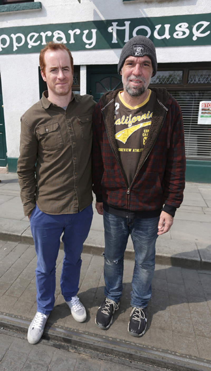 Donnie Brown, right, from Chicago with Mark Mulvey, who runs the Tipperary House Bed and Breakfast, Donnie was attacked and robbed in dublin city centre last Sunday night. Picture credit; Damien Eagers 10/5/2016